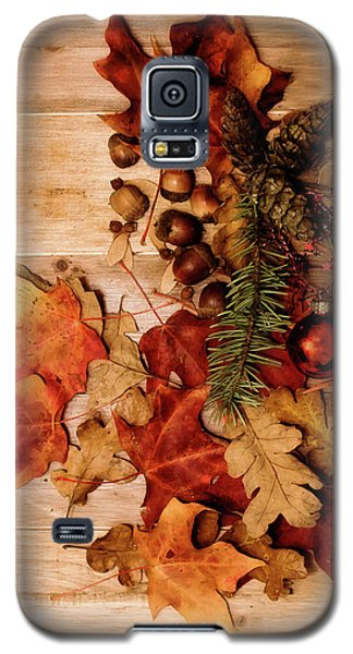 Galaxy S5 Case featuring the photograph Leaves And Nuts And Red Ornament by Rebecca Cozart