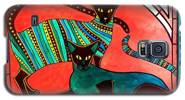 Galaxy S5 Case featuring the painting Legend Of The Siamese - Cat Art By Dora Hathazi Mendes by Dora Hathazi Mendes