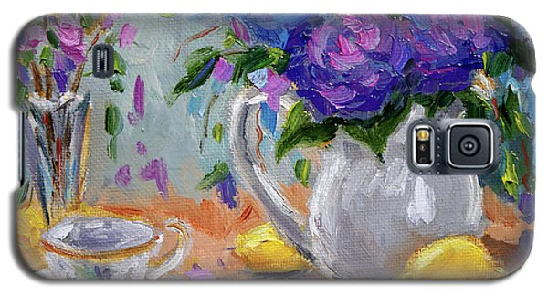 Galaxy S5 Case featuring the painting Lemons And Purple  by Jennifer Beaudet