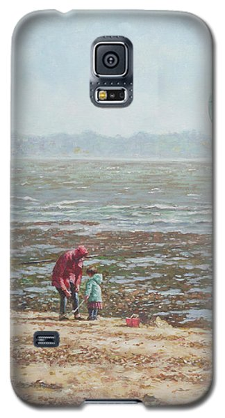 Galaxy S5 Case featuring the painting Lepe Beach Windy Winter Day by Martin Davey