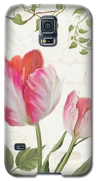 Bunting Galaxy S5 Case - Les Magnifiques Fleurs I - Magnificent Garden Flowers Parrot Tulips N Indigo Bunting Songbird by Audrey Jeanne Roberts