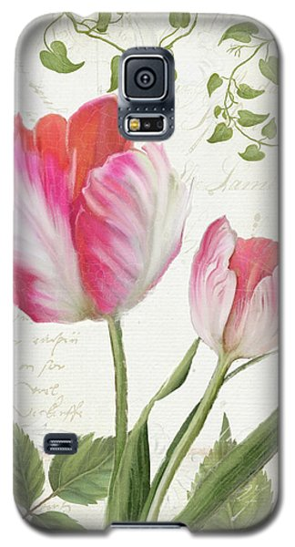 Les Magnifiques Fleurs IIi - Magnificent Garden Flowers Parrot Tulips N Indigo Bunting Songbird Galaxy S5 Case by Audrey Jeanne Roberts