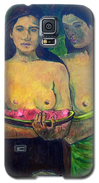 Galaxy S5 Case featuring the painting Les Seins Aux Fleurs Rouges by Tom Roderick
