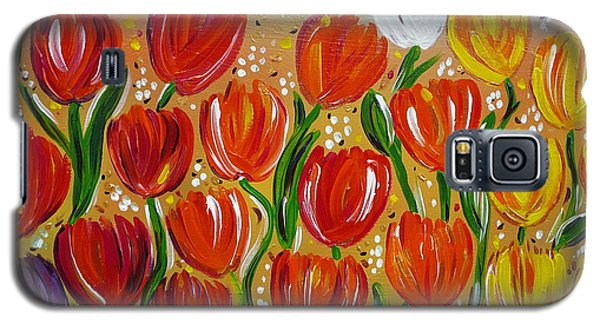 Galaxy S5 Case featuring the painting Les Tulipes - The Tulips by Gioia Albano