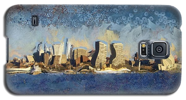 Galaxy S5 Case featuring the mixed media Less Wacky Philly Skyline by Trish Tritz
