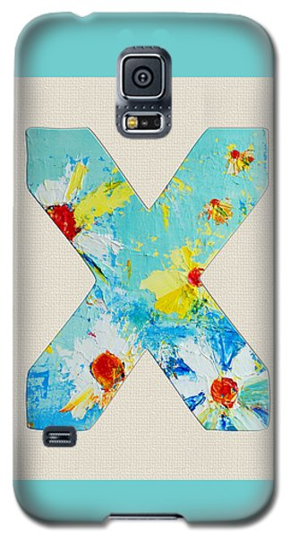 Letter X Roman Alphabet - A Floral Expression, Typography Art Galaxy S5 Case