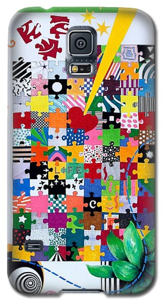 Galaxy S5 Case featuring the painting Life Is A Puzzle by Thomas Gronowski