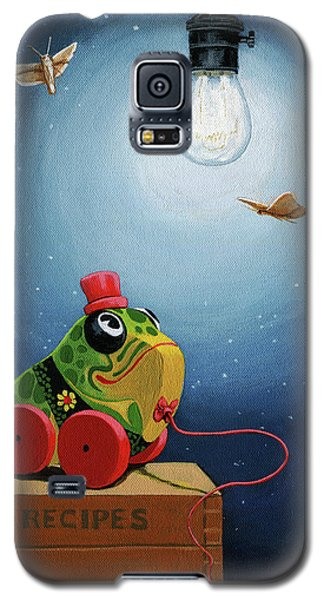 Galaxy S5 Case featuring the painting Light Snacks Original Whimsical Still Life by Linda Apple