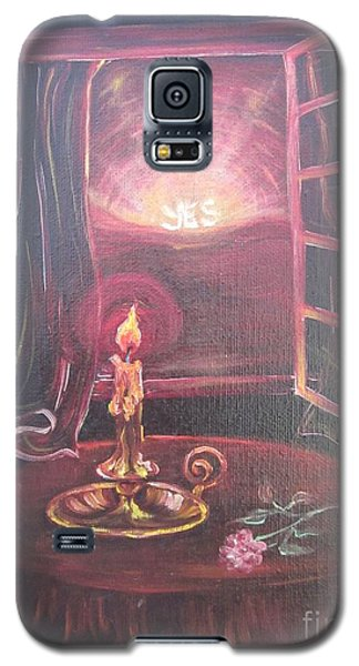 Galaxy S5 Case featuring the painting Light The Yes Candle by Sigrid Tune