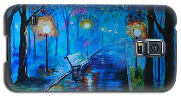 Galaxy S5 Case featuring the painting Lighted Parkway by Leslie Allen