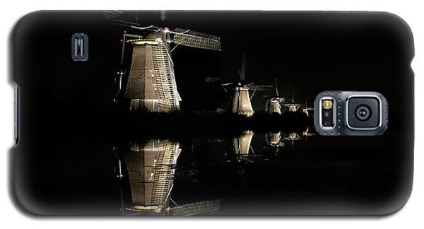 Lighted Windmills In The Black Night Galaxy S5 Case
