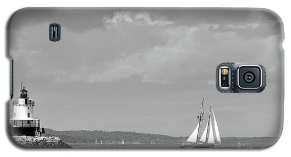Galaxy S5 Case featuring the photograph Lighthouse And Schooner, Portland, Maine #30096-bw by John Bald