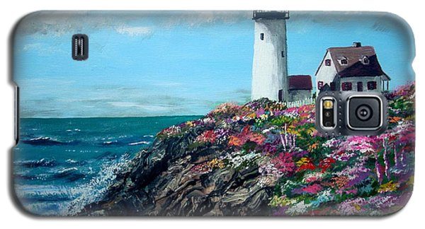 Galaxy S5 Case featuring the painting Lighthouse At Flower Point by Jack Skinner