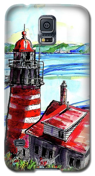 Galaxy S5 Case featuring the painting Lighthouse In Maine by Terry Banderas