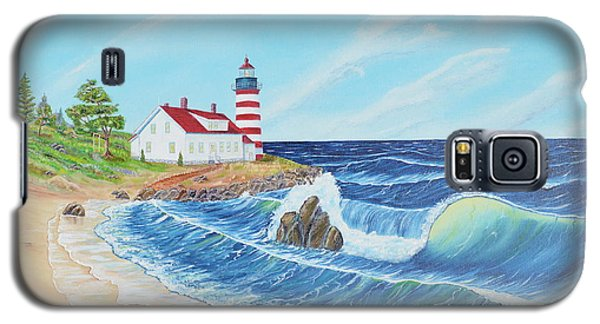 Galaxy S5 Case featuring the painting Lighthouse Life by Mary Scott