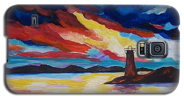 Galaxy S5 Case featuring the painting Lighthouse Storm by Leslie Allen