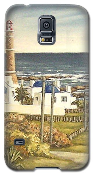 Galaxy S5 Case featuring the painting Lighthouse Uruguay  by Natalia Tejera