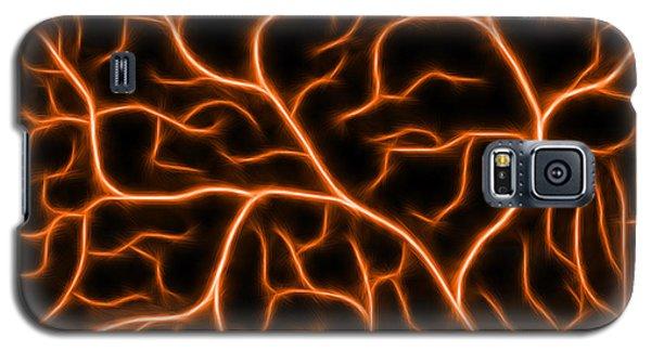 Galaxy S5 Case featuring the digital art Lightning - Orange by Shane Bechler