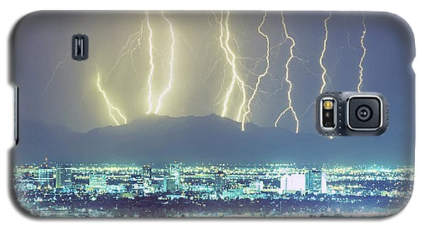 Galaxy S5 Case featuring the photograph Lightning Over Phoenix Arizona Panorama by James BO Insogna