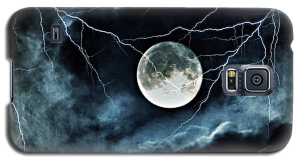 Galaxy S5 Case featuring the photograph Lightning Sky At Full Moon by Marianna Mills