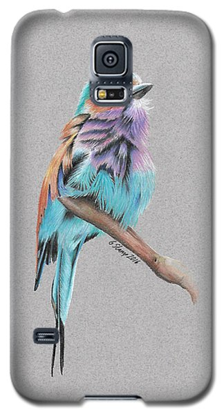 Galaxy S5 Case featuring the drawing Lilac Breasted Roller by Gary Stamp