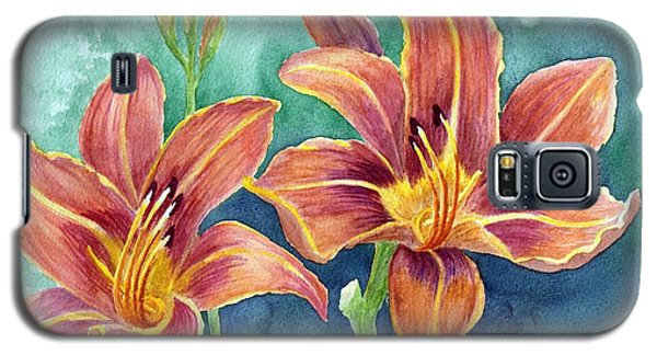 Galaxy S5 Case featuring the painting Lilies by Eleonora Perlic