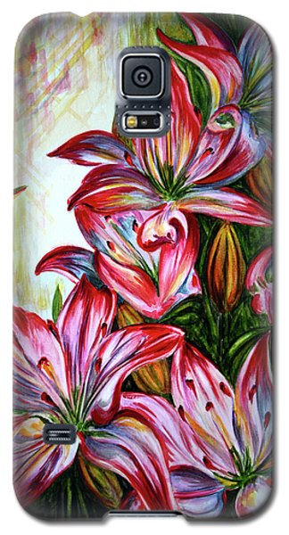 Galaxy S5 Case featuring the painting Lilies by Harsh Malik