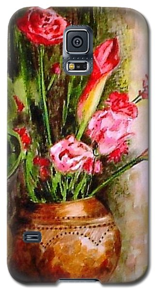 Galaxy S5 Case featuring the painting Lilies In The Pots by Harsh Malik
