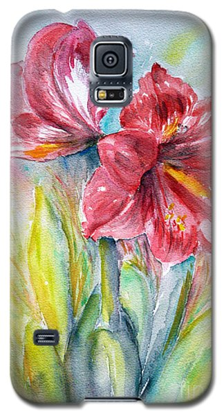 Galaxy S5 Case featuring the painting Lily Red by Jasna Dragun