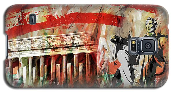 Galaxy S5 Case featuring the painting Lincoln Memorial And Lincoln Statue by Gull G