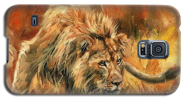 Galaxy S5 Case featuring the painting Lion Alert by David Stribbling