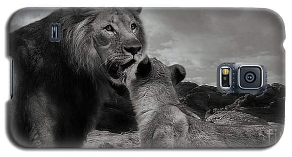 Galaxy S5 Case featuring the photograph Lion Family Panorama by Christine Sponchia