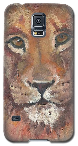 Galaxy S5 Case featuring the painting Lion by Jessmyne Stephenson