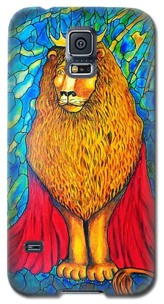 Galaxy S5 Case featuring the painting Lion-king by Rae Chichilnitsky