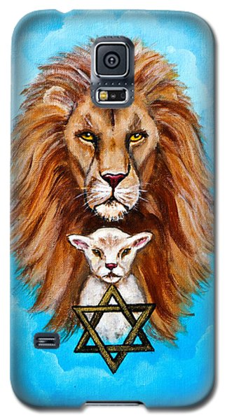 Galaxy S5 Case featuring the painting Lion Lies Down With A Lamb by Bob and Nadine Johnston