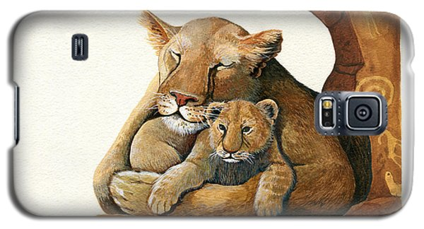 Galaxy S5 Case featuring the painting Lion - Protect Our Children Painting by Linda Apple