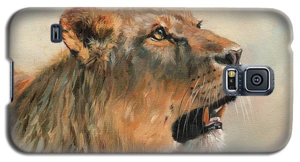 Galaxy S5 Case featuring the painting Lioness Portrait 2 by David Stribbling