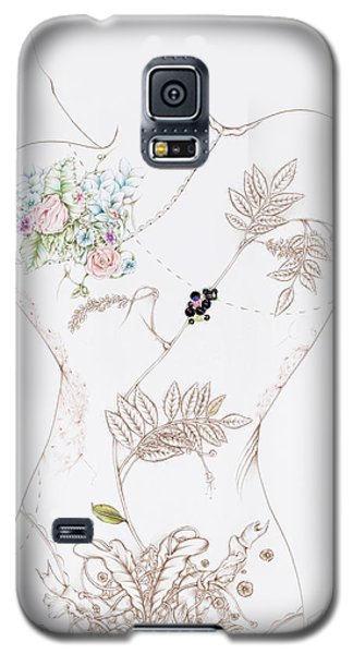 Galaxy S5 Case featuring the drawing Lisette by Karen Robey