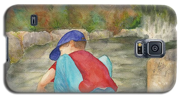 Galaxy S5 Case featuring the painting Little Boy At Japanese Garden by Vicki  Housel