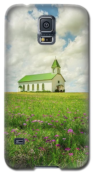 Galaxy S5 Case featuring the photograph Little Church On Hill Of Wildflowers by Robert Frederick