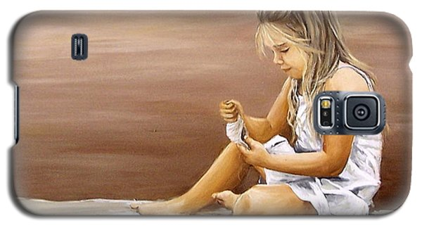 Galaxy S5 Case featuring the painting Little Girl With Sea Shell by Natalia Tejera