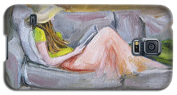 Galaxy S5 Case featuring the painting Little Reader by Jennifer Beaudet