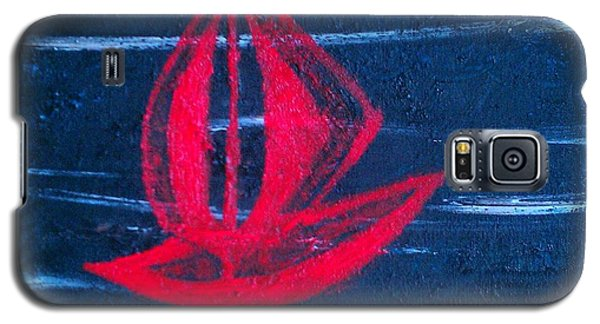 Galaxy S5 Case featuring the painting Little Red Boat  by Jacqueline McReynolds