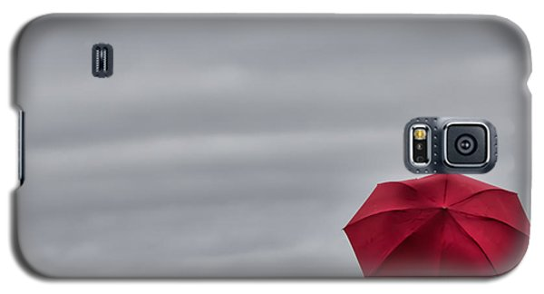 Galaxy S5 Case featuring the photograph Little Red Umbrella In A Big Universe by Don Schwartz