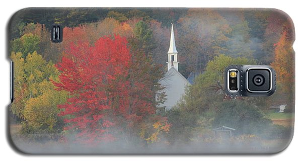Little White Church Autumn Fog Galaxy S5 Case by John Burk