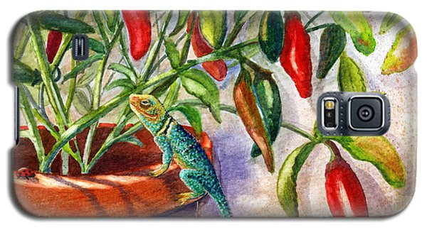 Galaxy S5 Case featuring the painting Lizard In Hot Sauce by Marilyn Smith