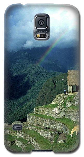 Llama And Rainbow At Machu Picchu Galaxy S5 Case