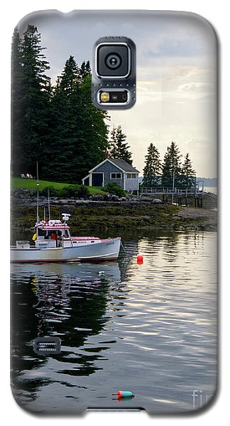 Galaxy S5 Case featuring the photograph Lobster Boat And Clearing Skies, Port Clyde, Maine #30806 by John Bald