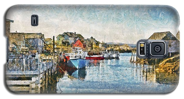 Galaxy S5 Case featuring the digital art Lobster Boats At Peggy's Cove In Nova Scotia by Digital Photographic Arts