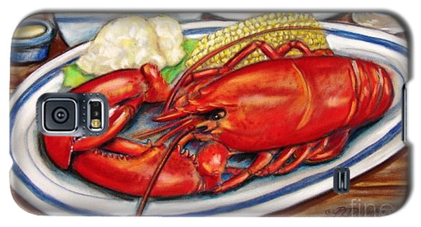 Galaxy S5 Case featuring the pastel Lobster Dinner by Patricia L Davidson